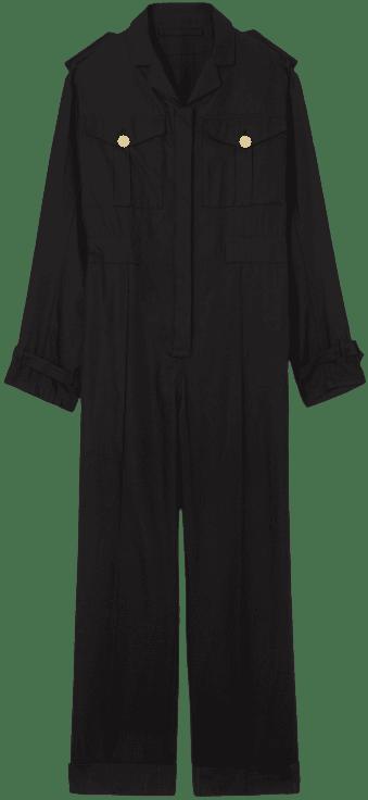 Black Cotton Gabardine Jumpsuit-Burberry
