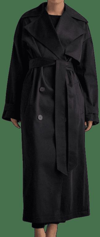 Black Cotton Oversized Trench Coat-Bazilika