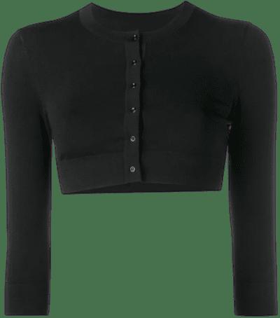 Black Cropped Button-Up Cardigan-Alaïa