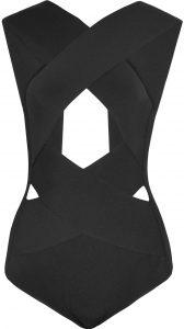 Black Cutout Bandage Bodysuit-Balmain
