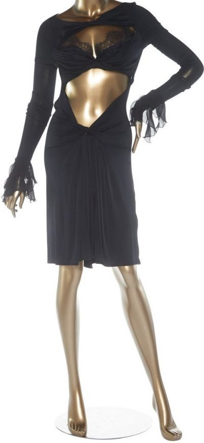 Black Cutout Midi Dress With Built In Bra-Roberto Cavalli