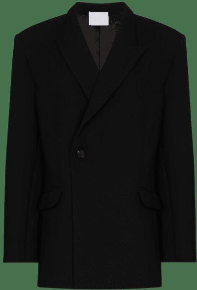 Black Double-Breasted Boxy Blazer