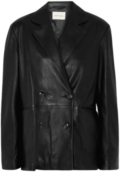 Black Double-Breasted Leather Blazer-Loulou Studio