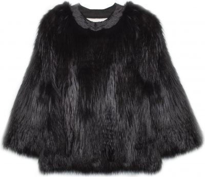 Black Dream Dyed Silver Fox Beaded Jacket-Pologeorgis
