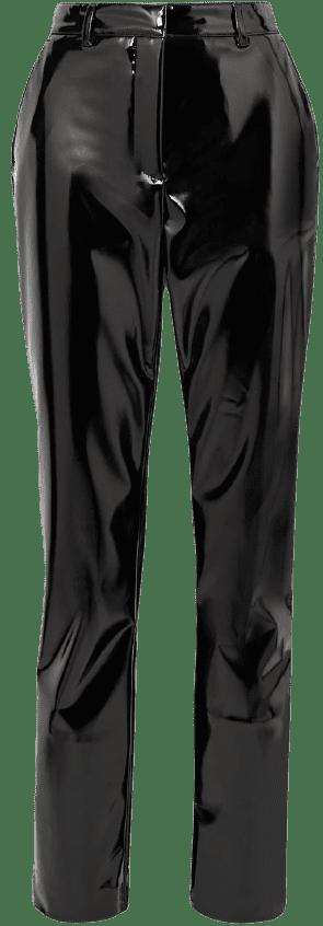 Black Faux Patent-Leather Slim-Leg Pants
