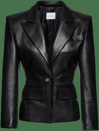 Black Fitted Leather Blazer-Magda Butrym