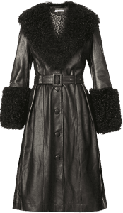 Black Foxy V-Neck Leather Coat
