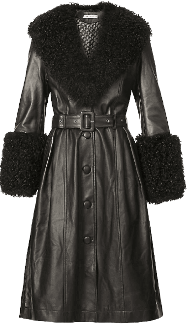 Black Foxy V-Neck Leather Coat
