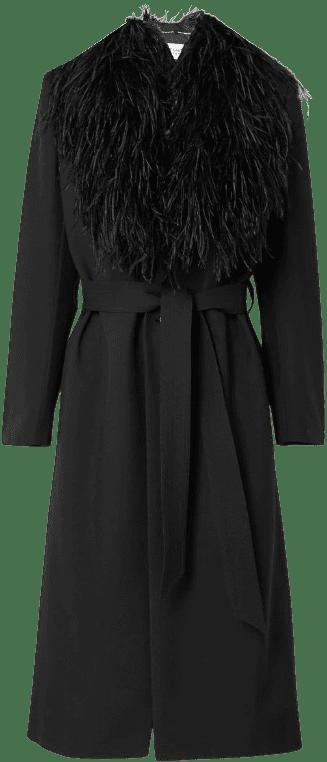 Black Grain De Poudre Wool Coat-Saint Laurent