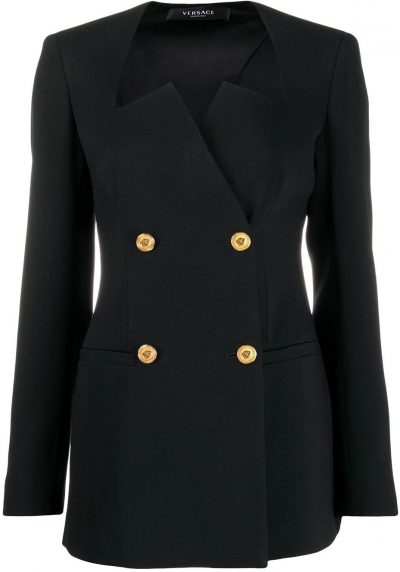 Black Graphic-Neckline Double-Breasted Blazer-Versace