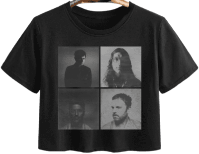 Black KOL Portraits Short Sleeve Crop T-Shirt-Kings of Leon