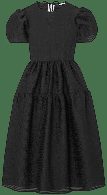 Black Katja Tiered Cloqué Midi Dress