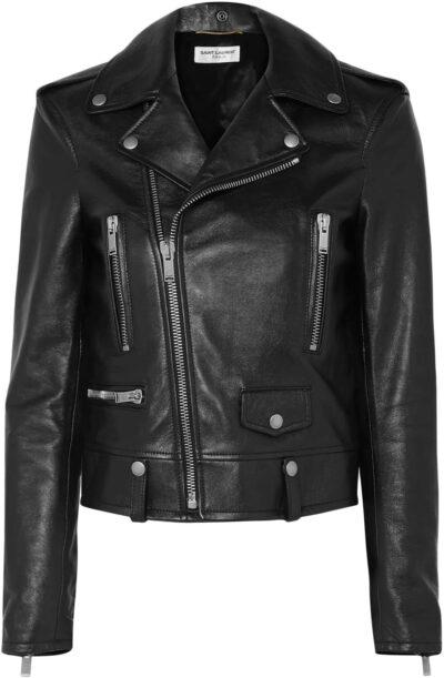 Black Leather Biker Jacket-Saint Laurent