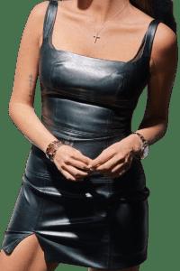 Black Leather Mini Dress-LikaforLika