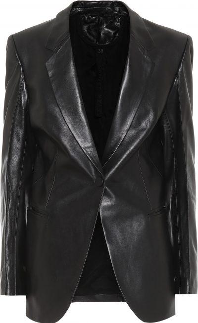 Black Leather Single-Breasted Blazer