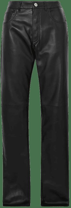 Black Leather Straight-Leg Pants-The Attico