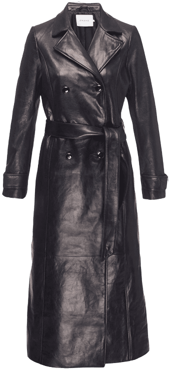 Black Leather Trench-Frame