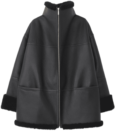 Black Menfi Shearling Jacket-Totême