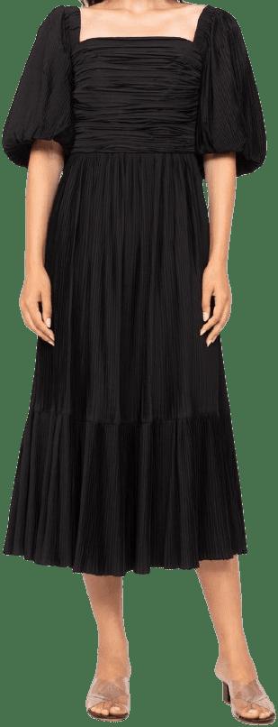 Black Nadja Pleat Dress-Sea