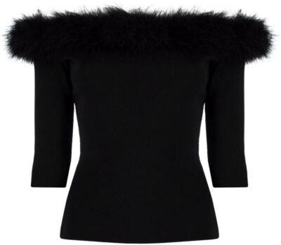 Black Off-Shoulder Knitted Top-Saint Laurent