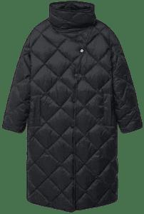 Black Oversize Quilted Coat-Mango
