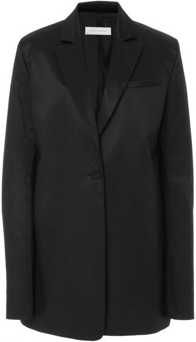 Black Oversized Wool and Silk Satin-Blend Blazer-Marina Moscone