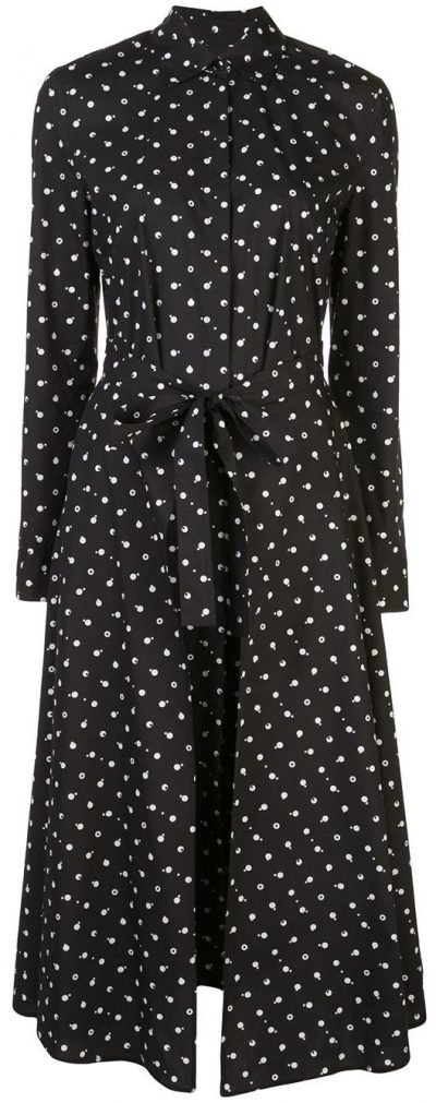 Black Polka Dot Print Chemise Dres