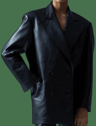 Black Pre-Fall 2021 Vegan Leather Blazer-Anouki