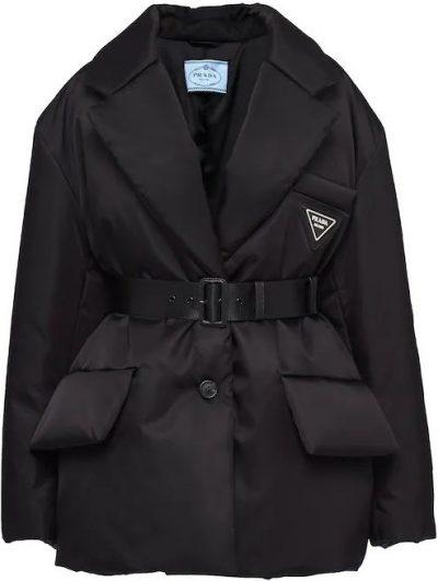 Black Re-Nylon Gabardine Puffer Jacket-Prada