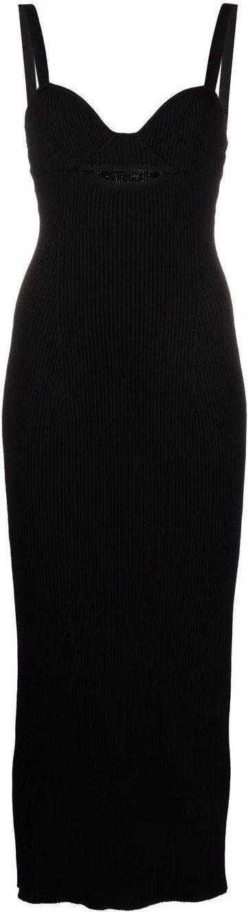 Black Ribbed-Knit Fitted Midi Dress-Magda Butrym