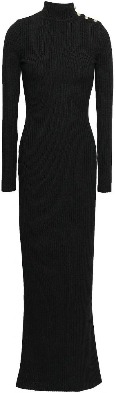 Black Ribbed Merino Wool Turtleneck Maxi Dress-Balmain