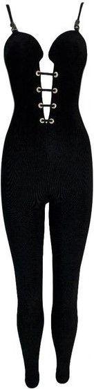 Black SS 1992 Plunging Corset Lace Up Jumpsuit-Versace
