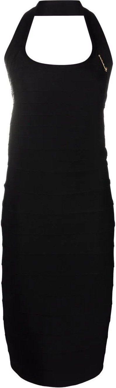 Black Safety-Pin Detail Halterneck Dress-Versace
