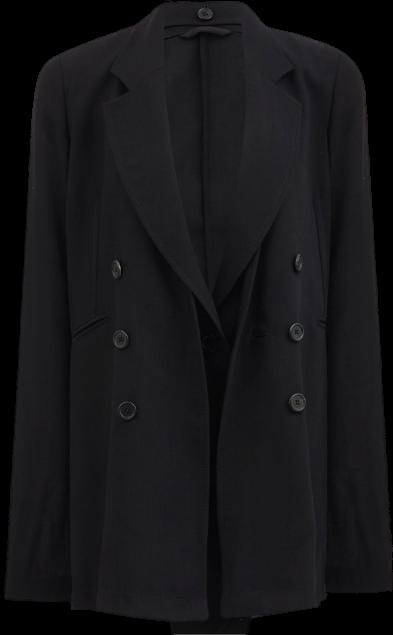 Black Single-Breasted Wool-Crepe Jacket