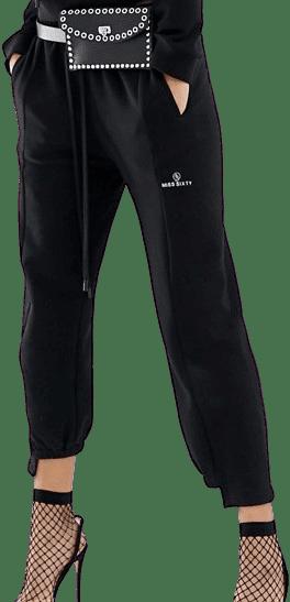 Black Stepped Hem Detail Joggers