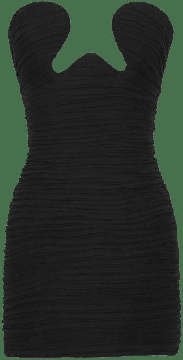 Black Strapless Ruched Silk-Georgette Mini Dress-Saint Laurent