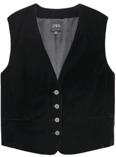 Black V-Neck Velvet Vest