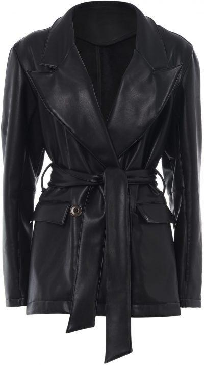 Black Vegan Leather Jacket-Milkwhite