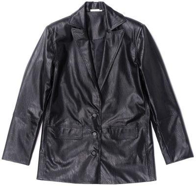 Black Vegan Leather Oversized Blazer-Steele