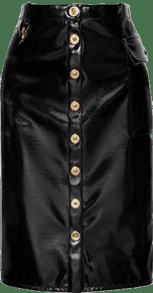 Black Vinyl Midi Skirt