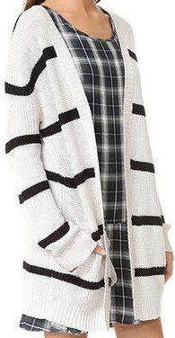 Black and White Long Striped Cardigan-Haoduoyi