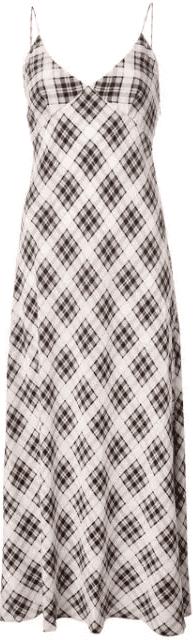 Black and White Plaid Strap Dress