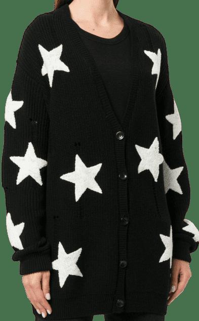 Black Oversized Star Cardigan