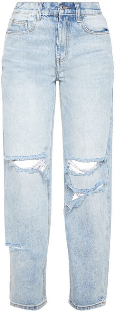 Bleach Wash Distressed Boyfriend Jean-Prettylittlething