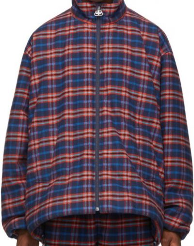 Blue And Red Check Flanell Quilted Zip-Up Jacket