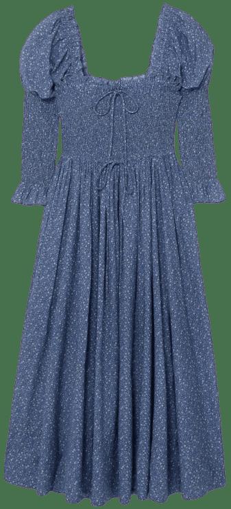 Blue Bijou Smocked Floral-Print Dress-DÔEN