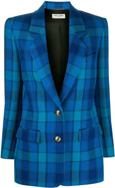 Blue Check-Pattern Single-Breasted Blazer-Saint Laurent