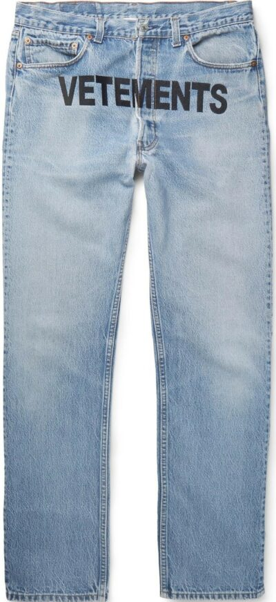 Blue Embroidered Distressed Denim Jeans-Vetements + Levi's