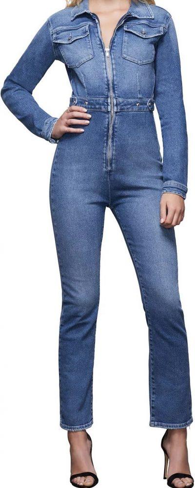 Blue Exposed Zip Denim Jumpsuit