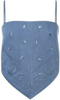 Blue Jolene Embroidered Denim Tank-Kendra Duplantier